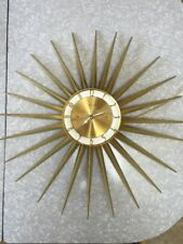 Vintage Spartus Sunburst Wall Clock Retro Mid Century Modern