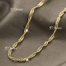 18K YELLOW GOLD GF TWISTED CHAIN NECKLACE 47CM AEIWO