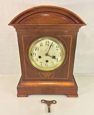 Antique Junghans Clock w/ Inlaid Wood Case B07 Mvmt Running Striking Chiming