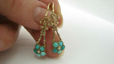 "Victorian Antique 9ct Turquoise & Seed Pearl ""Forget Me Knot"" Dangling Earrings"