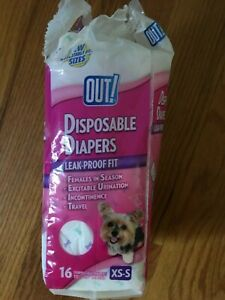 OUT! Disposable Dog Diapers | Absorbent with Leak-Proof Fit XS/S 14 Count