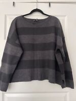 Eileen Fisher XL Charcoal Striped Merino Cropped Sweater Nwot