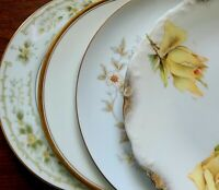 """4 Mismatched China 6"""" Bread Dessert Plates Yellow and Green Florals w/ Gold"""