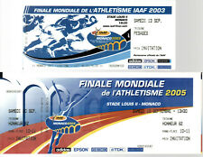MONACO - 2 Billets Tickets Biglietto Finale Mondiale ATHLETISME IAAF2003 & 2005