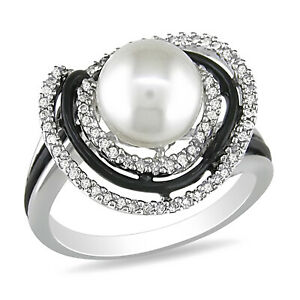 Amour Sterling Silver Diamond and Freshwater Cultured Pearl Ring