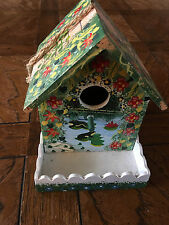 Cottage Style Wood Birdhouse With Accent Decorative house Handmade square