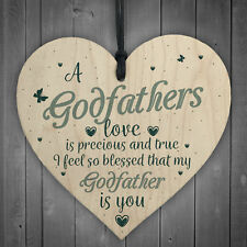 Godfathers Love Heart Plaque Sign Fathers Day Christening Birthday Asking Gifts