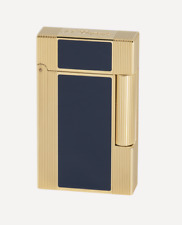 ST Dupont Windsor Ligne 2 Yellow Gold & Blue Lacquer Double Soft Flame Lighter