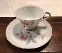 Fine Seyei China Nagoya Japan Tea Coffee Cup and Saucer 1564 Silver Trim Roses