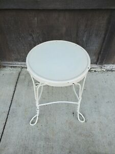 metal parlor vanity stool twisted wire design round seat painted white