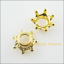 20Pcs Gold Plated Flower Crown End Bead Caps Connectors 13mm