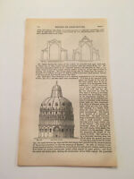 K66) Baptistery Cathedral Pisa Italy Architecture History 1842 Engraving