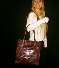 Kate Spade New York Vanston Croc Jackson Handbag Bag Tote Chocolate Brown $528