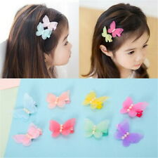 Girls Cute Pearl Clip Chiffon Butterfly Hairpin Cloth Lovely Children US NEW