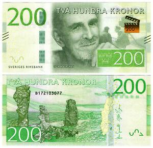 Sweden - 200 Kronor 2015 Ingmar Bergman UNC (Thread partly on zero)