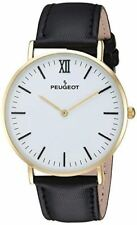 Peugeot Men's '14k Gold Plated' Quartz Metal and Leather Casual Watch Color Bla