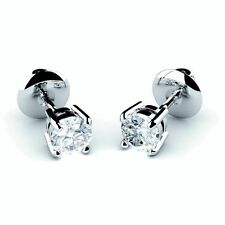 18 Carat Stud White Gold I1 Fine Diamond Earrings