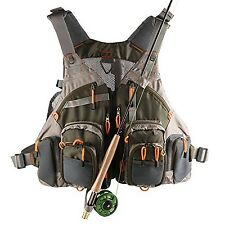 V-Style Mesh Fly Fishing Vest and Backpack Multi Pocket Fishing Chest Bag wit...