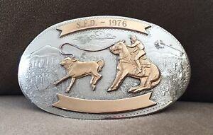 🤠 USA COWBOY 🤠 2 BANNER COMSTOCK RODEO CALF ROPING SFD 1976 TROPHY BELT BUCKLE