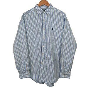 """RALPH LAUREN Light Blue Striped Long Sleeve Button Up Dress Shirt - 16"""" Collar"""