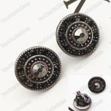 CLIP ON 14mm EARRINGS JET CRYSTAL faux marcasite vintage silver BLACK/GREY retro