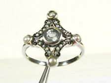.25ct Natural Blue Topaz and Pearl Victorian Deco Sterling Filigree Ring 1003P