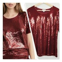 [ WITCHERY ] Womens Sequin crew Tee / Top | Size XL or AU 16 or US 12