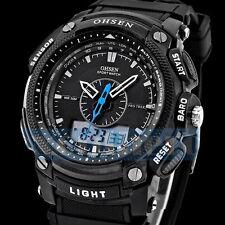 OHSEN Waterproof Men's LCD Date Analog Digital Alarm Rubber Sport Wrist Watch