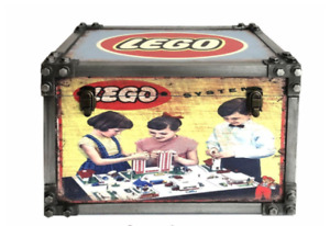 Lego Toy Toys Metal Strapped Storage Chest Trunk Retro Vintage Large Tool Box