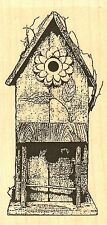 Rustic Flower Birdhouse Wood Mounted Rubber Stamp IMPRESSION OBSESSION E9609 NEW