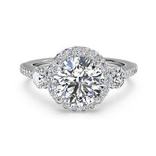 14K White Gold Round Cut Size 7.25 1.30 Ct Round Diamond Engagement Rings Real