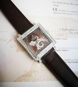 Alviero Martini 1° Class Horloge Femme Cuir Marron Acier Et Swarovski