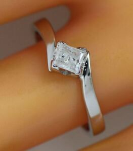 0.31 ct solitaire real diamond wedding engagement ring 18k white gold ring