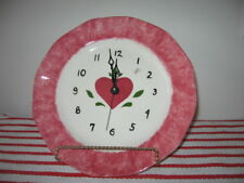 "Rose Spongeware 10"" Plate with Valentine Heart Wall Clock by Snyder ~ Works"