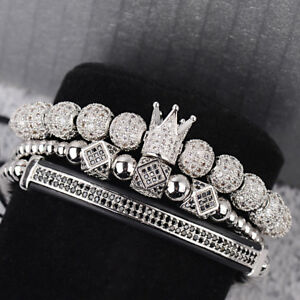 Luxury Men's Silver Plated Micro Pave CZ Ball Crown Braided Adjustable Bracelets