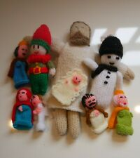 Hand Knitted Christmas Nativity Set + Knitted Jesus + Elf + Snowman Decoration