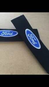 A Pair Seat Belt Shoulder Cover Soft Pads Cotton Embroidered  Logo Ford Style