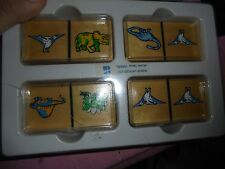 Lot of wood dinosaur game pieces tiles replacement pieces parts lot of 26 fun