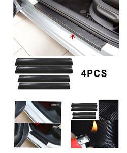 4X Car Door Sill Scuff Protector Plate Sticker Carbon Fibre Cover Anti-Kick