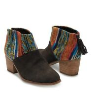T7 Toms Women's Chocolate Suede Multi Textile Leila Booties Size 12