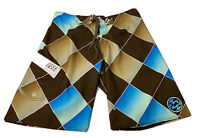 Billabong Mens 32 Tremor Platinum Stretch Swim Boardshorts Blue & Brown Graphic