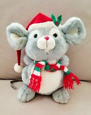 """Russ Berrie Vintage Christmas Mouse """"Mischief"""" 11"""" Gray Mouse"""