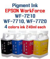 Pigment Ink 4- multi-color 240ml bottles Epson WF-7210 WF-7710 WF-7720 printers
