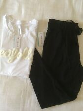 NEW Seafolly Looped Flock Logo Tank Singlet Castaway Jersey Pant Set Size S