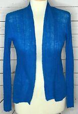 Eileen Fisher petite sweater open front cardigan linen crochet turquoise blue
