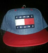 645a977b Tommy Hilfiger jeans BNWT 90's Denim Flag Snap Back Baseball Hat vintage  rare