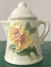 Small White Yellow Flower Ceramic Succulent African Violet Coffee Pot Planter