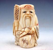 Japanese Detailed Hand Carved Netsuke Sculpture Old Man Hods Fan Bag #08201709