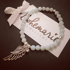 Amazonite angel wing beaded bracelet gemstone bijoux jewellery boho gypsy