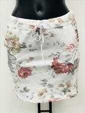 SEXY Minirock Sweatrock Rock Mini geblümt Blumen Weiß mehrfarbig  34 36 38